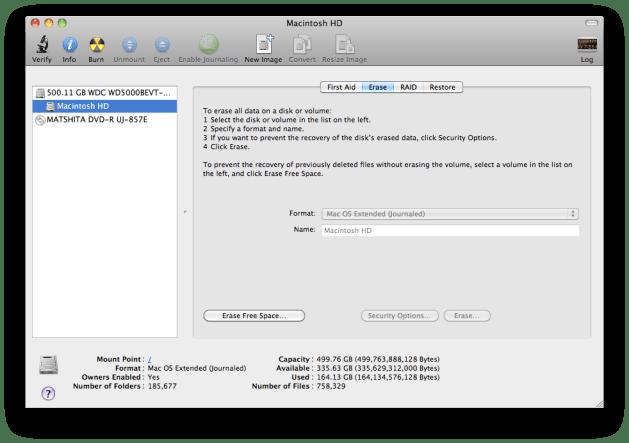 Disk Utility - Erase Tab