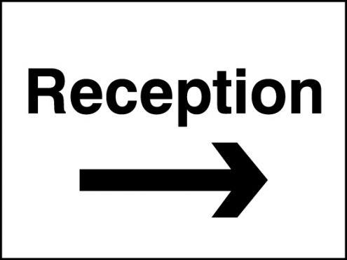 Reception (Right Arrow) Sign Rigid Plastic 300 x 400mm