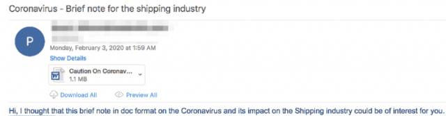 Coronavirus email delivers malware