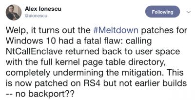Meltdown mitigation in Windows 10 bypassed