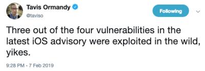 Tweet from Google Project Zero researcher Tavis Ormandy