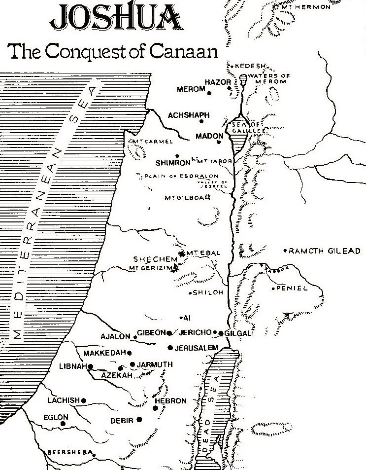 map of the conquest of canaan by joshua