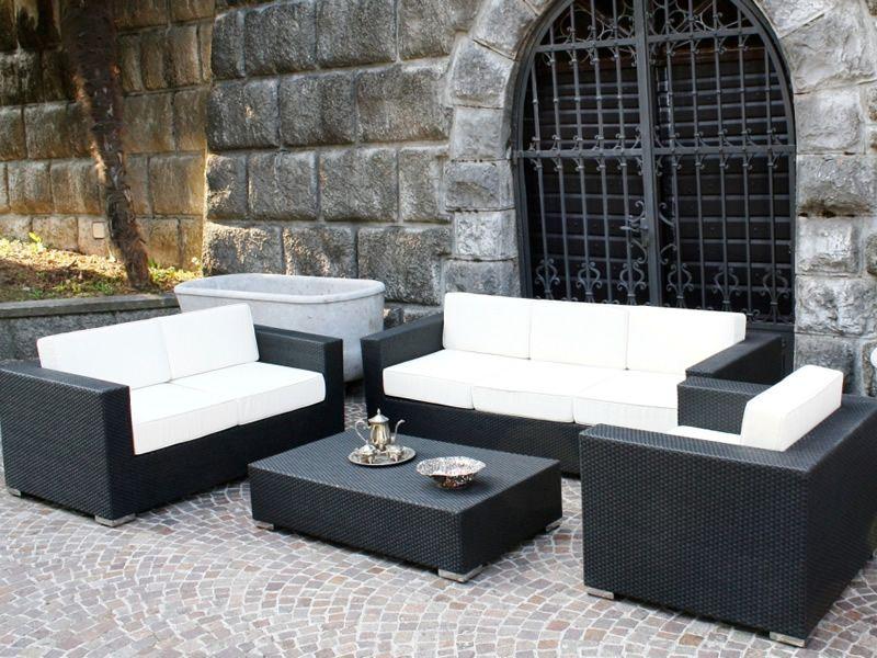 Kit esterno 11  Set per giardino in alluminio e simil rattan poltrona 2 divani e tavolino