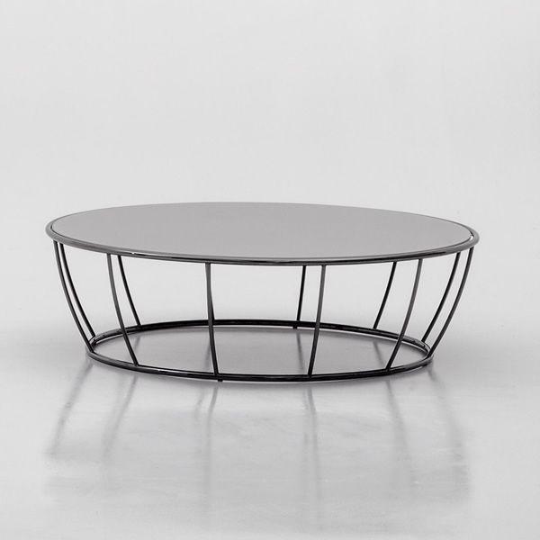 Amburgo Table Basse Ronde En Metal Chrome Avec Plateau En Verre En Differentes