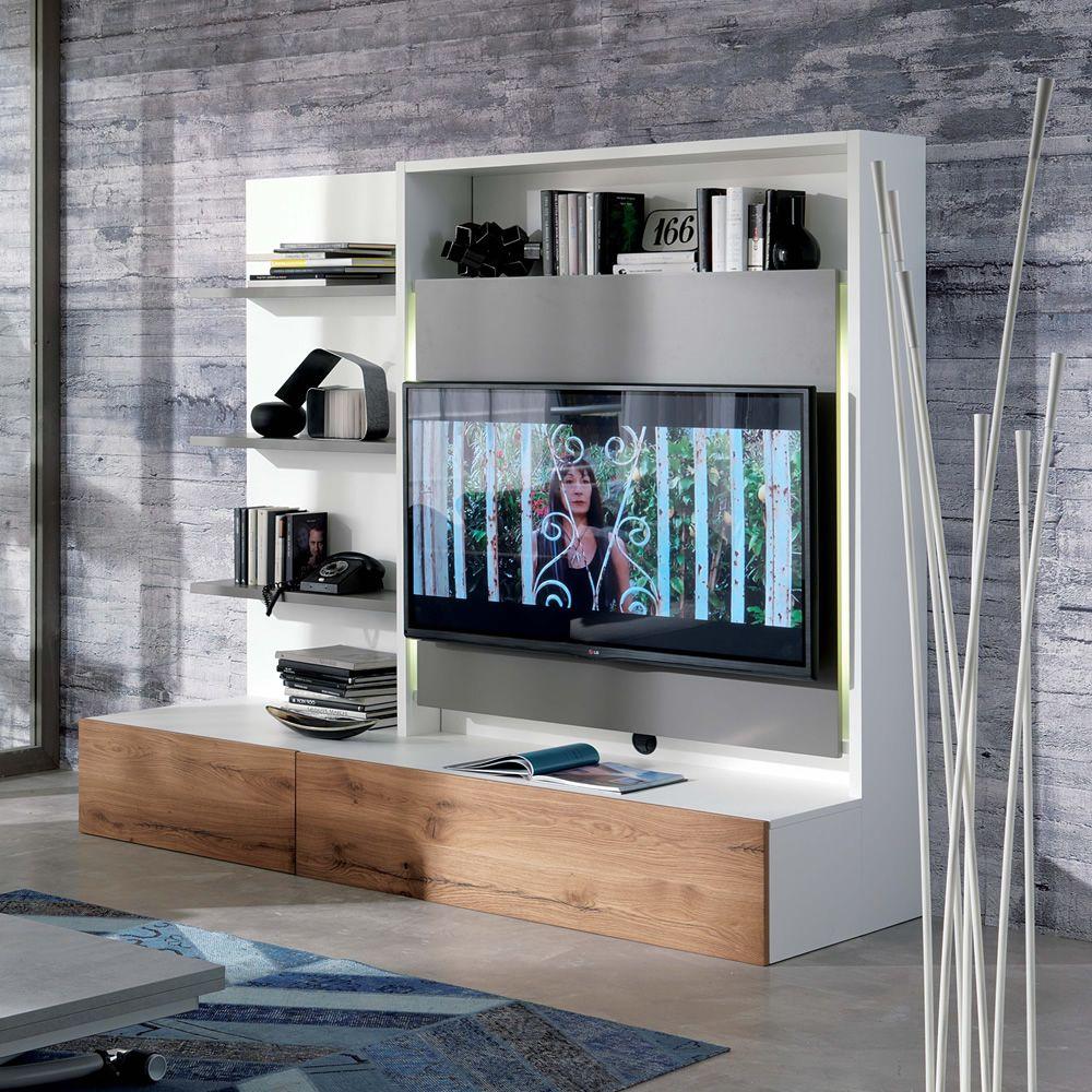 Smart living L  Mobile soggiorno in legno con 3 mensole portatv portasedie e cassettone