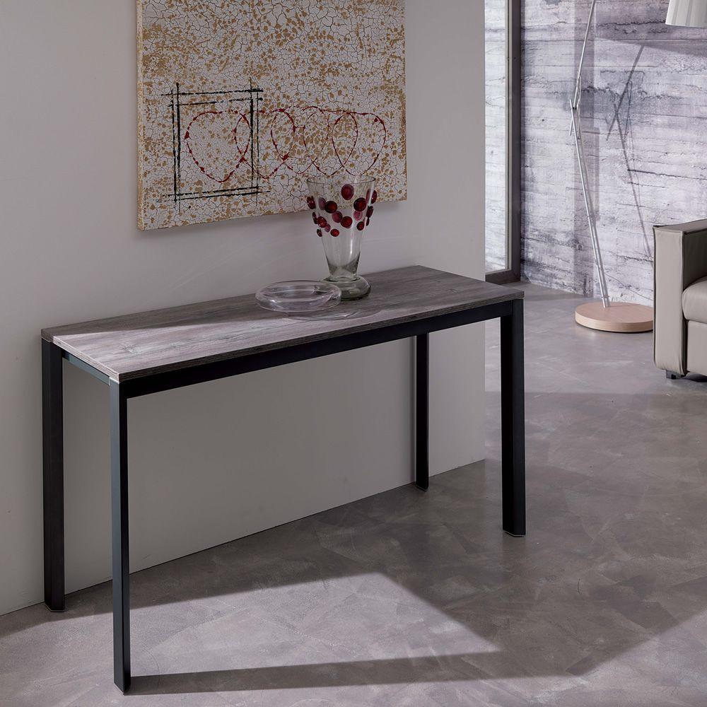 Voil  Consolle in metallo piano in legno 125x47 cm
