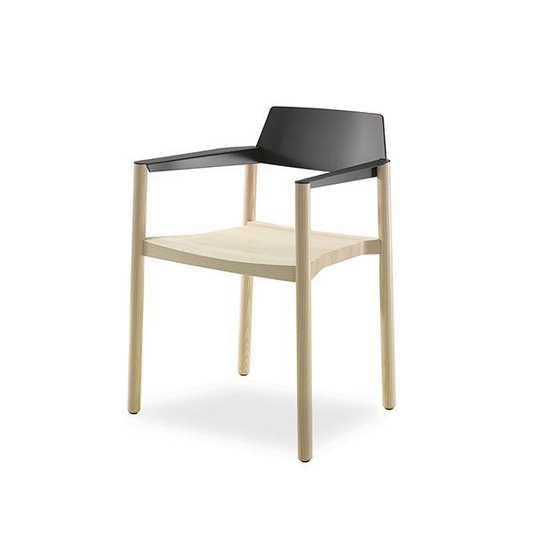Giga  Silla moderna de madera con respaldo en metal