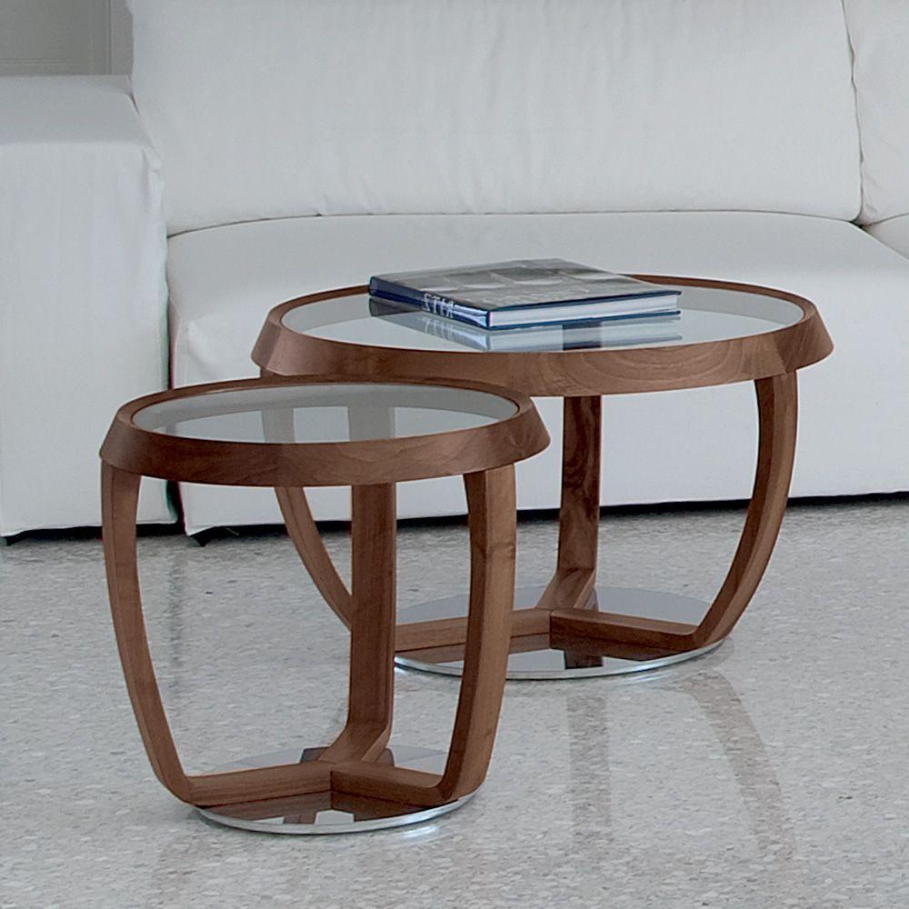 Time Small  Tavolino da salotto Tonon con piano tondo in vetro diverse misure  Sediarreda
