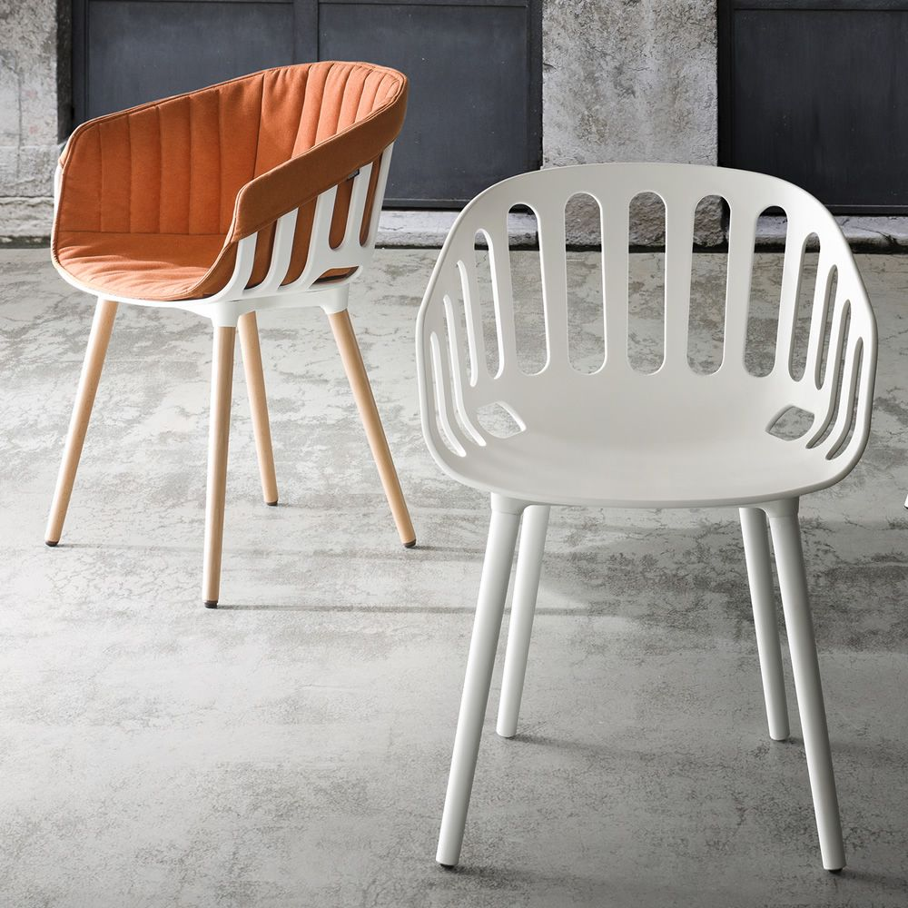 Basket Modern Armchair With Seat In Technopolymer With Metal Or Wooden Legs Also For Outdoor