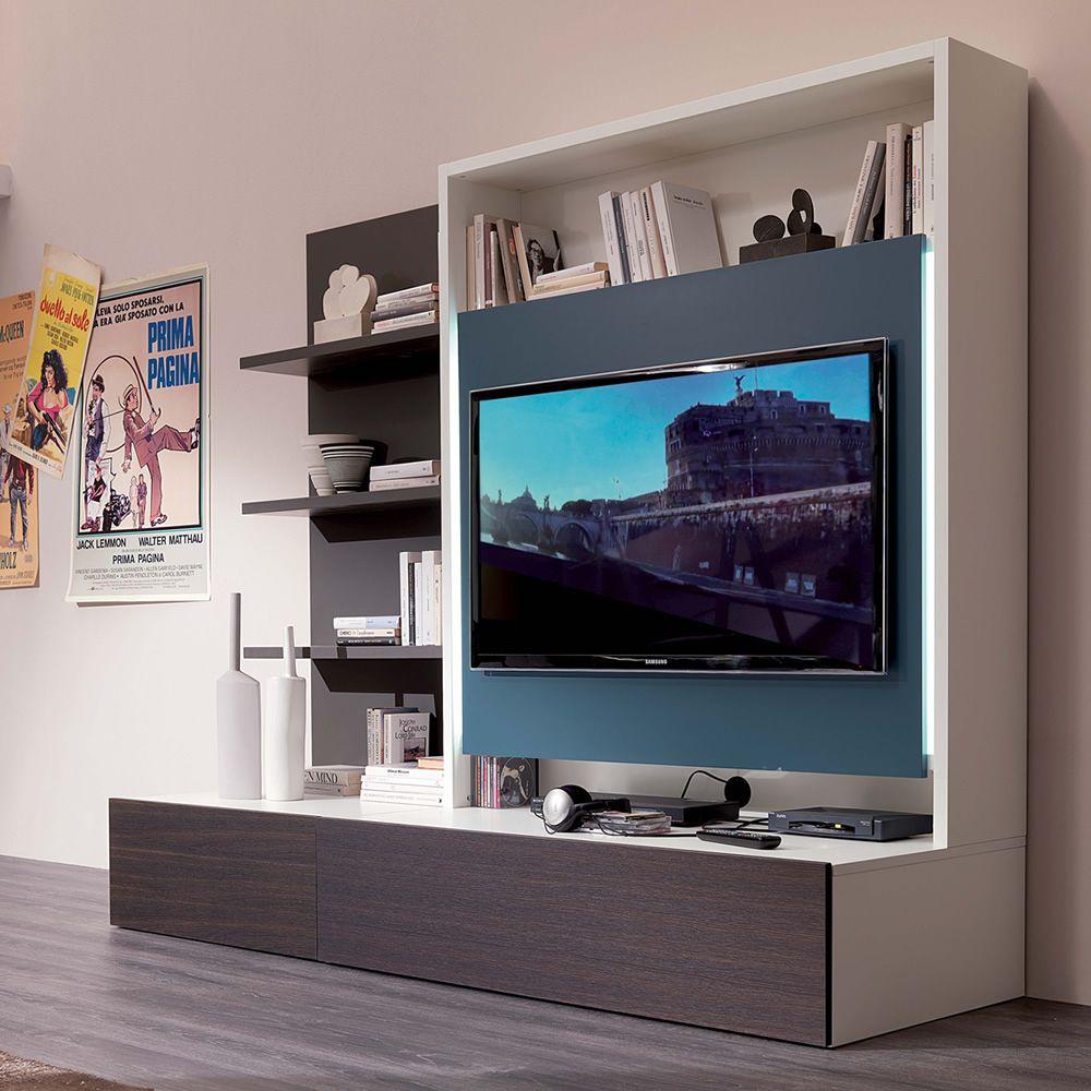 Smart living L  Mobile soggiorno in legno con 3 mensole