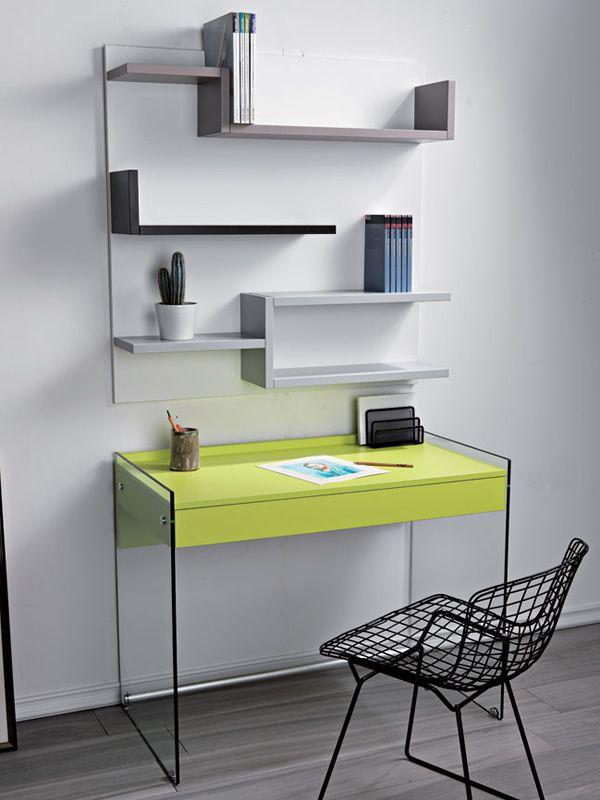 My  Composizione con scrivania in vetro e libreria in laminato  Sediarreda
