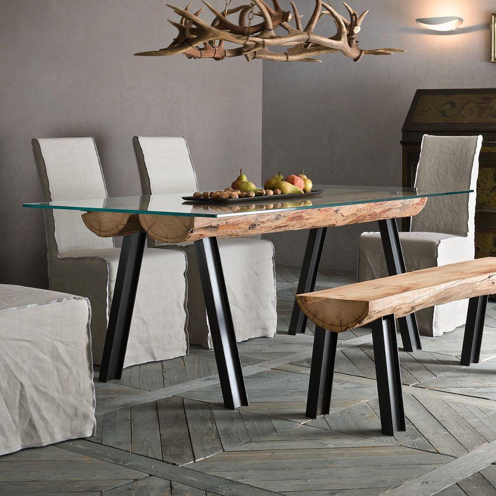 Anfide T  Tavolo fisso di design con struttura in acciaio e legno e piano in vetro