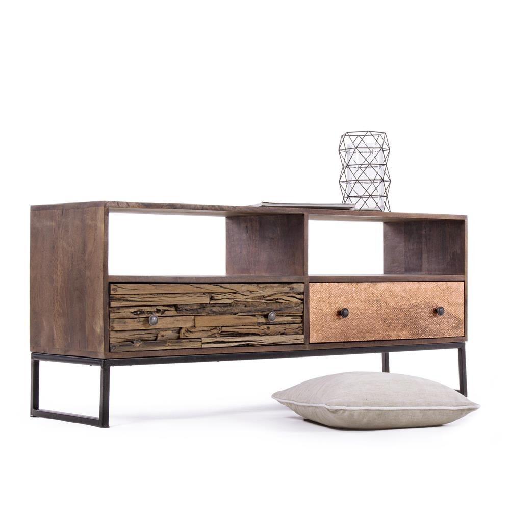 Abuja 2C  Mobile basso vintage per soggiorno in legno