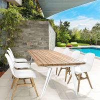 Sila: Teak chair with fiberglass seat, also for garden