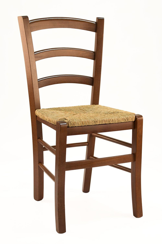110  Sedia legno rustica seduta paglia