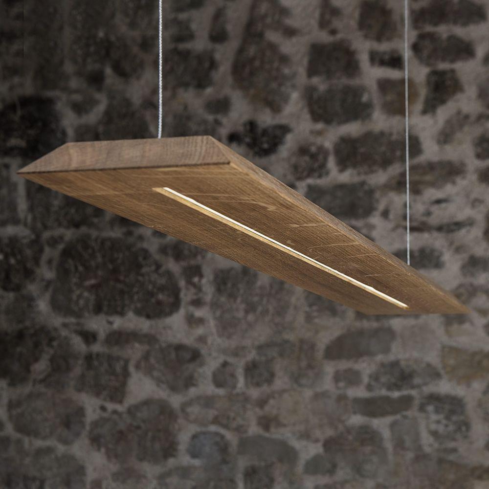 Blade  Lampada a sospensione in legno massello di rovere