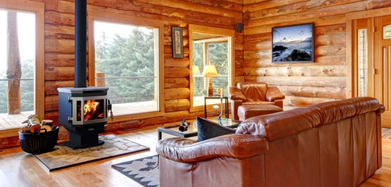 A living room inside a Northern Minnesota cabin rental