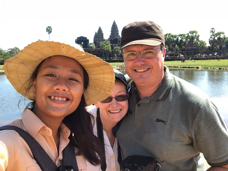 The Grants with their guide (Panha) in Angkor Wat