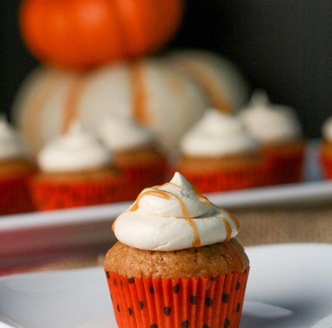 Brown Butter Pumpkin Cupcakes with Salted Caramel Frosting