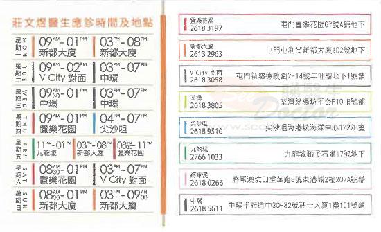 家庭醫學莊文煜醫生咭片 Dr CHONG MAN YUK Name Card   莊文煜醫生診所 電話 地址