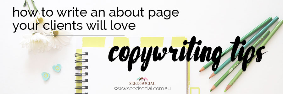 How To Write An About Page Your Clients Will Love, copywriting tips from Sarah at Spite Fire Scribe for Seed Social