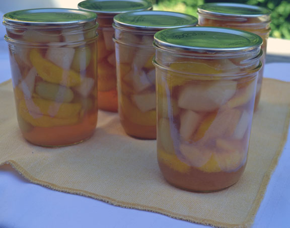 mixed fruit in honey syrup