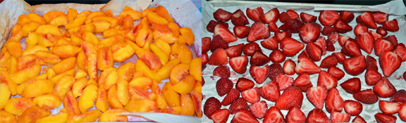 frozen peaches and strawberries