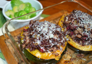 stuffed squash with cranberries and quinoa