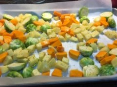 Meatless Sheet Pan Dinner with Brussels sprouts and Squash