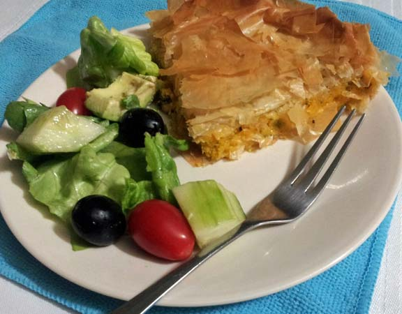 squash pie with a green salad