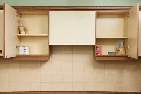 empty kitchen cupboards