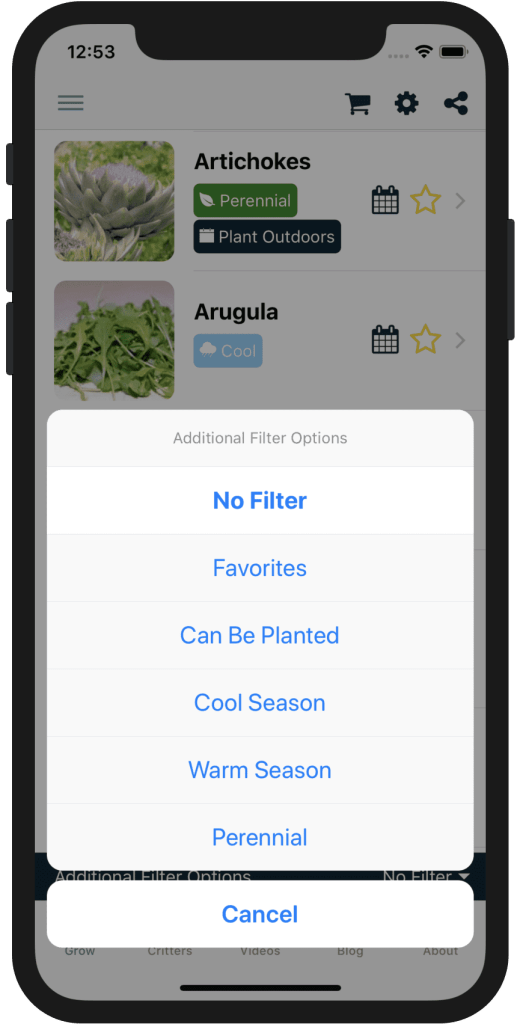 Filter Plants List by What Can Be Planted Now!