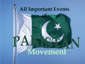All Important Events of Pakistan's movement
