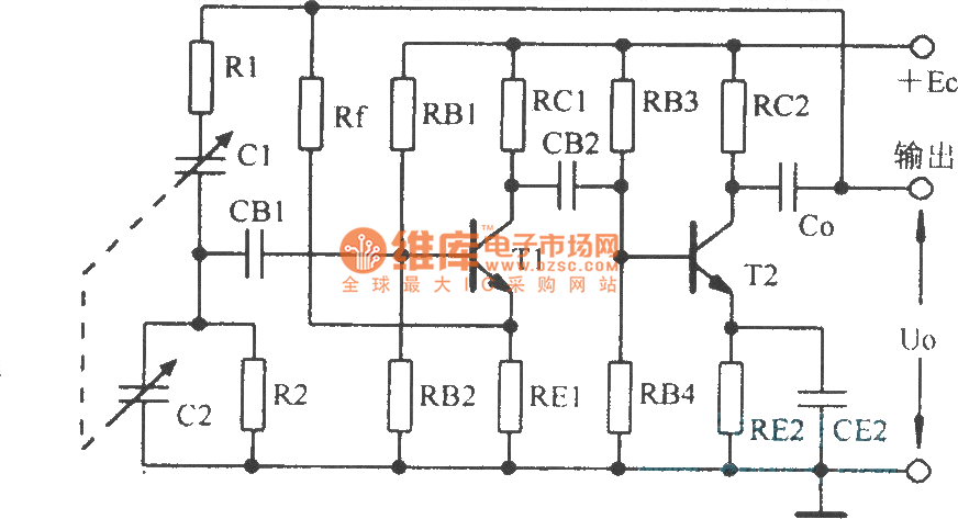 RC bridge oscillator and its equivalent circuit