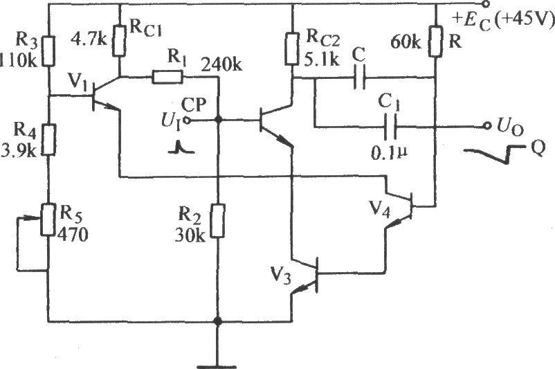 Distortional capacitor negative feedback sawtooth circuit