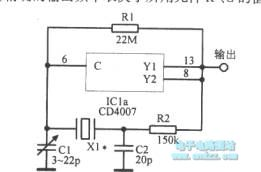 The crystal oscillator circuit using CNOS inverter