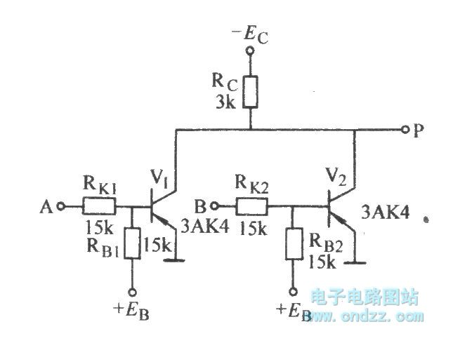 The transistor NOR gate circuit with two input ends