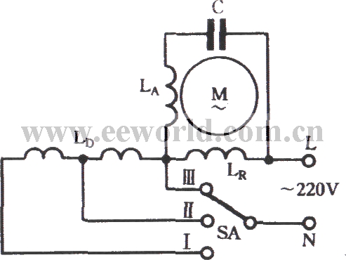 The winding tap T- connection three-speed circuit of