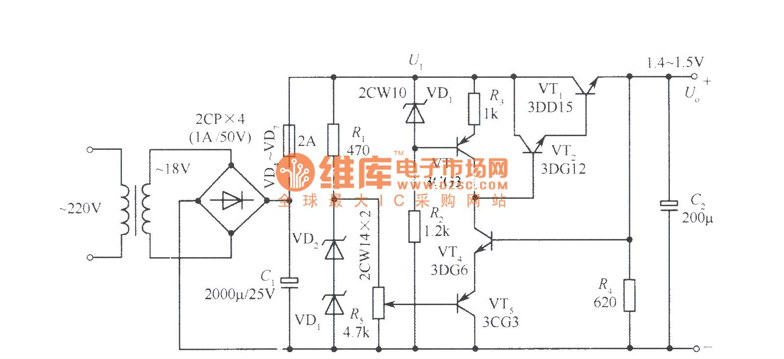 1.45V to 15V full sampling regulated power supply circuit