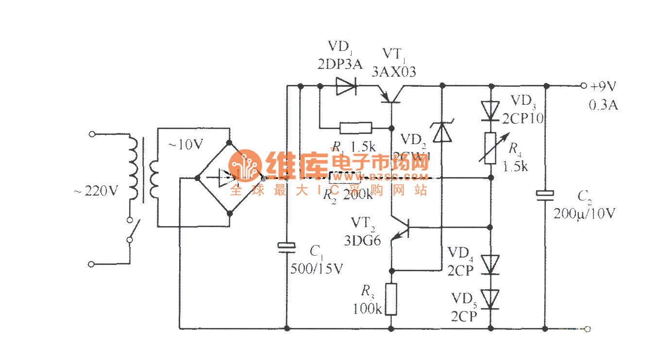 9V Collector output regulated voltage power supply circuit