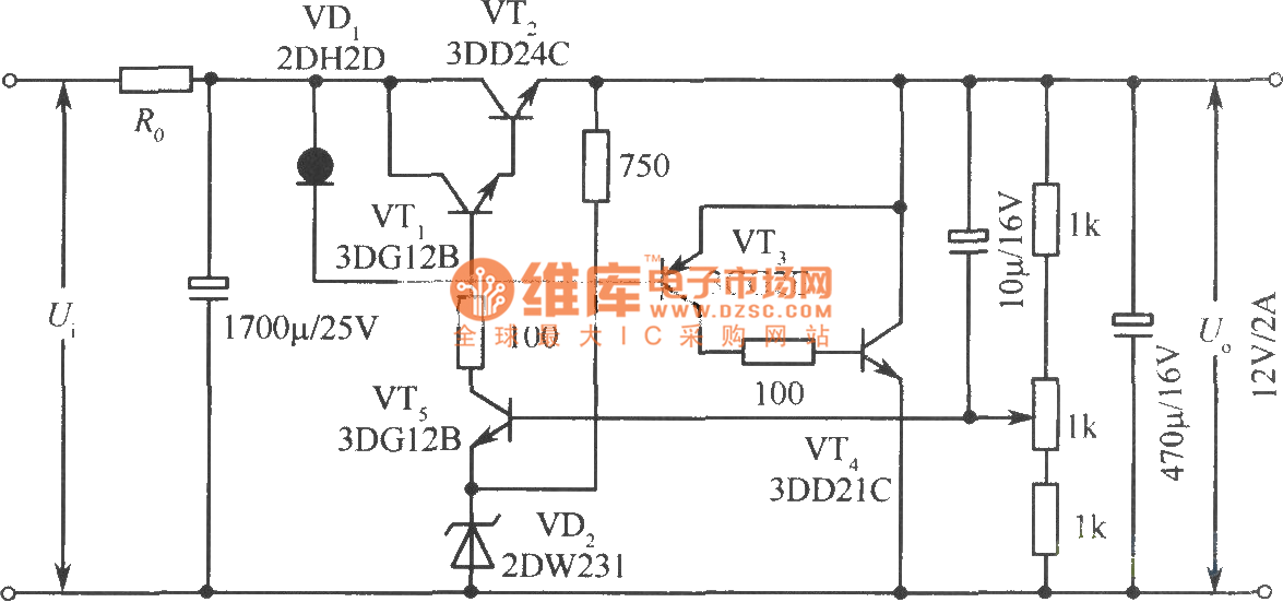 12V regulated voltage power supply circuit with series and