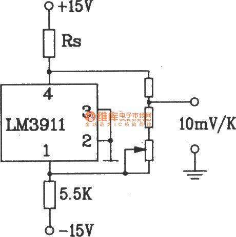 Temperature overheat detection alarm circuit composed of