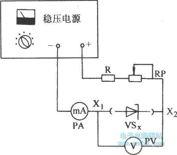 Voltage stabilizer diode tested by manostat and ammeter