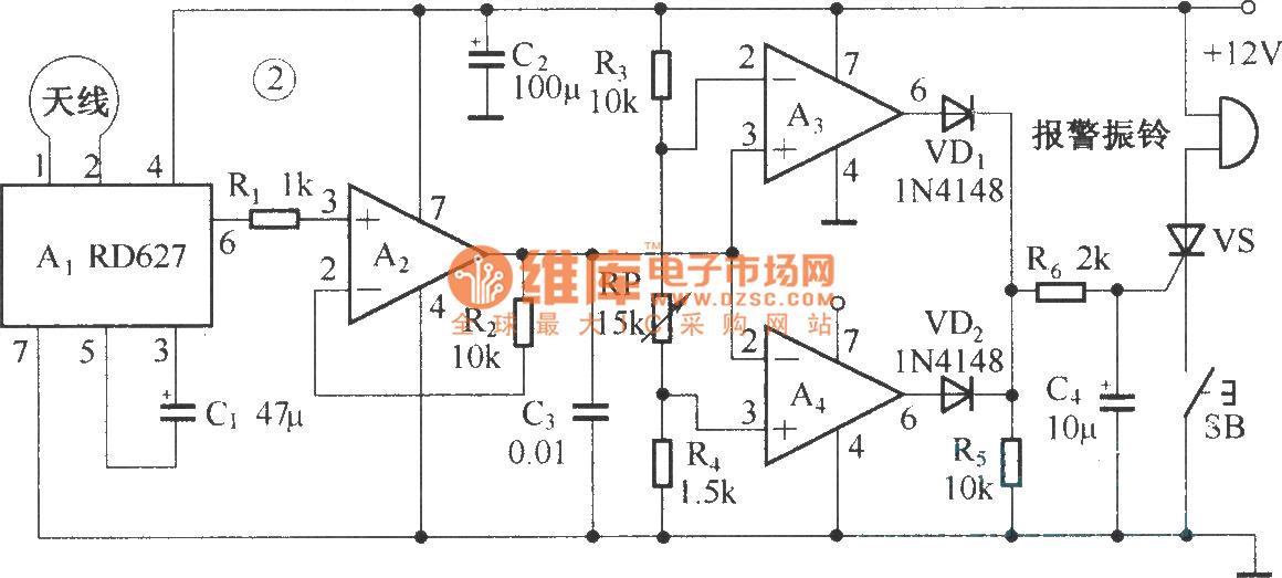 Composed of RD627 microwave alarm circuit diagram