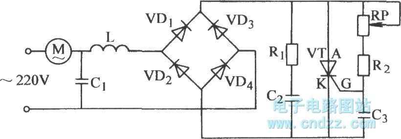 Ordinary thyristor stepless voltage regulator circuit