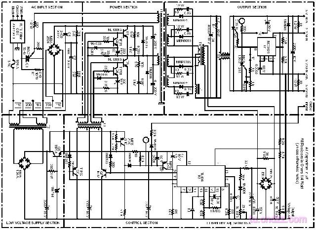 The principle diagram of 400W switchching power output