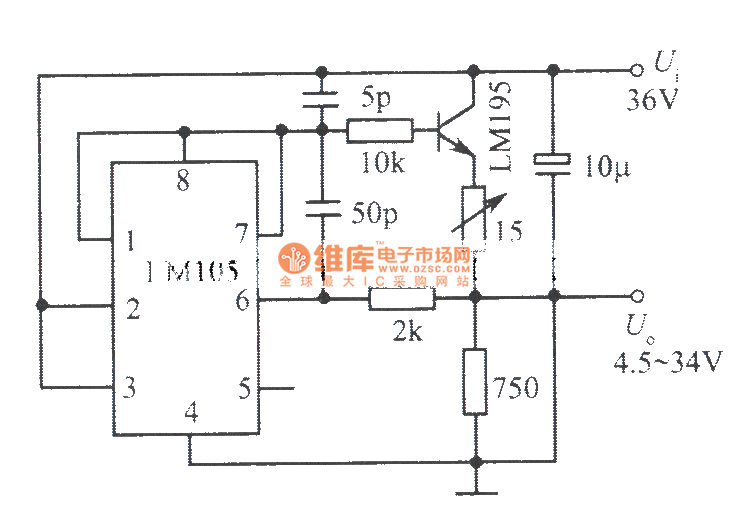 4.5~34V, 1A adjustable regulated power supply composed of