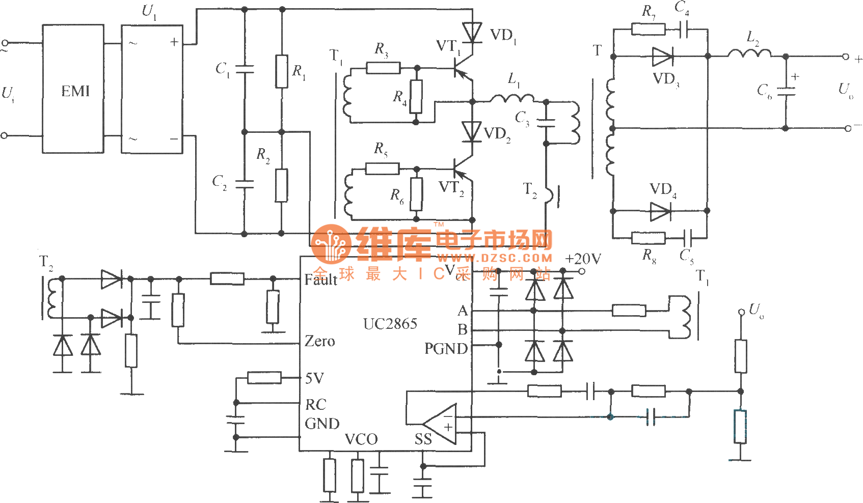 Practical circuit of zero current switching soft switching