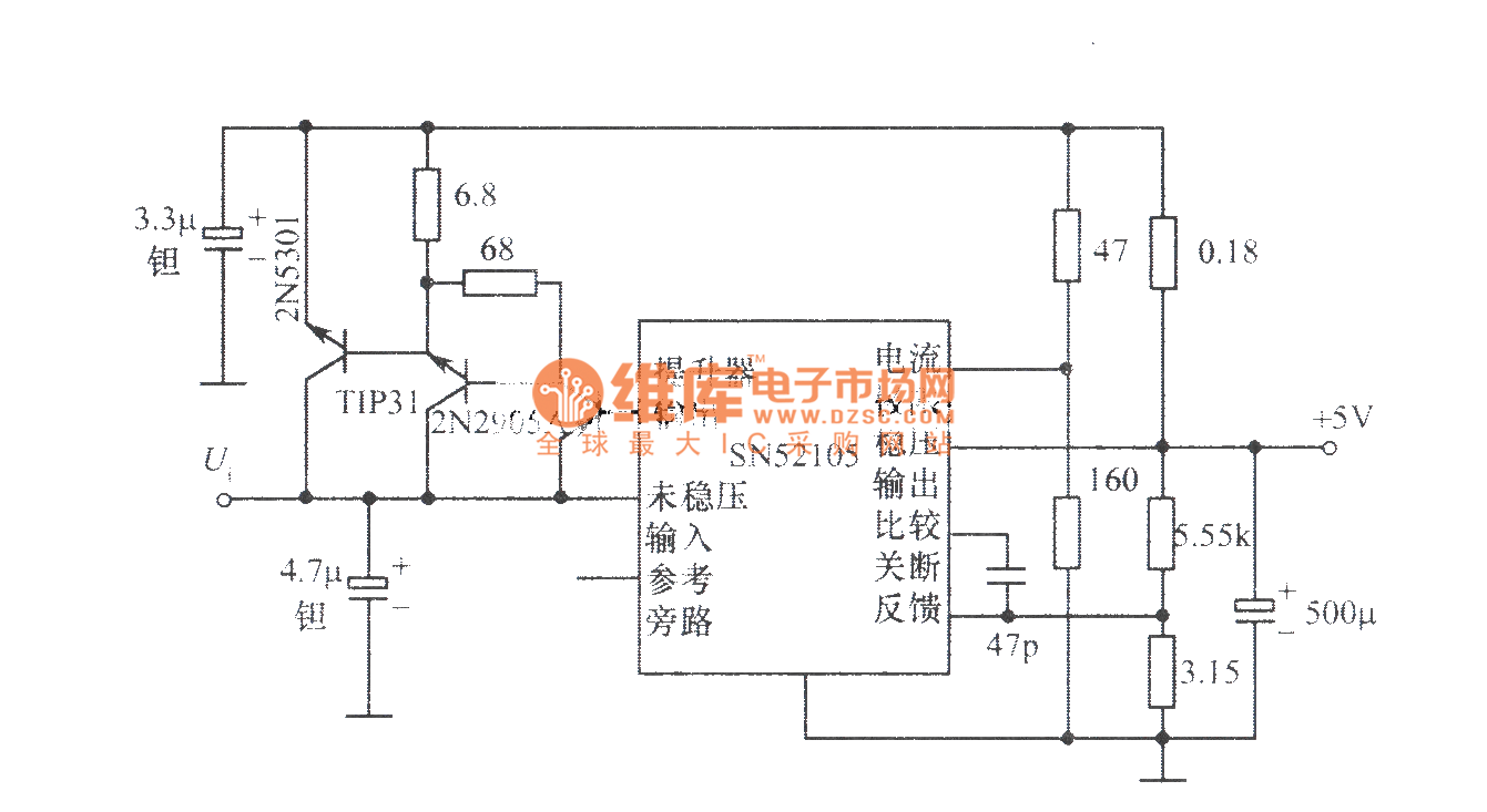 5V、10A regulated power supply composed of SN52105