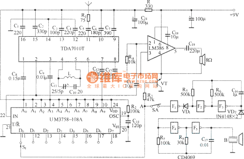 small resolution of small wireless call system circuit diagram ba1401 tda7010t